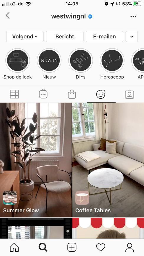 Instagram pagina met interieur foto's