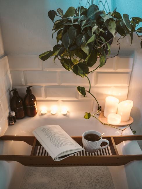 Badkuipdecoratie met kaarsen en planten, boek en beker