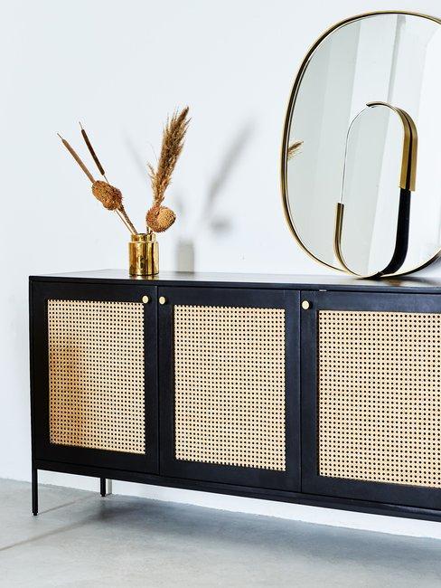 Feng Shui Weens vlechtwerk dressoir kast met ronde spiegels