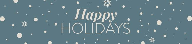 Blauw happy holidays logo