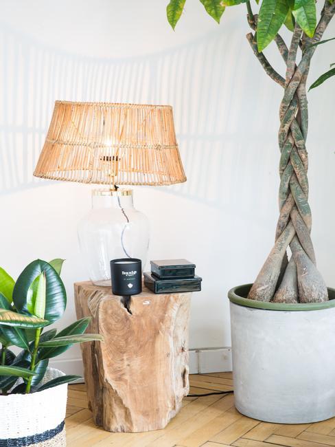 Rotan hanglamp op bijzettafel naast een plantenpot