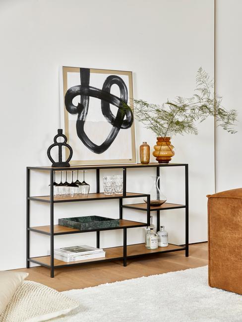 zwart met houten wandkast met zwarte Dressoir-decoratie