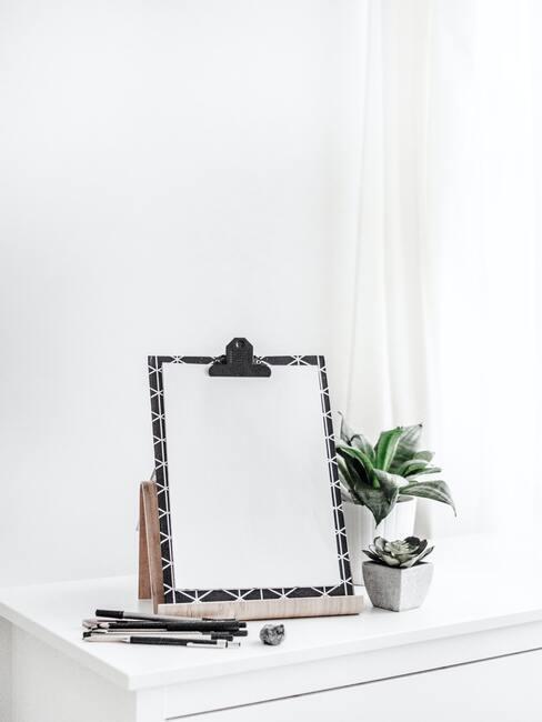 Neutrale tinten : Planten in witte plantenpotten op houten sideboard