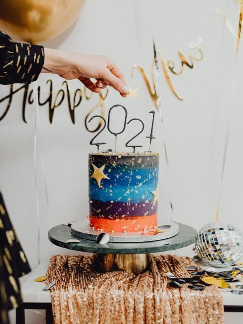 oud en nieuw taart met 2021