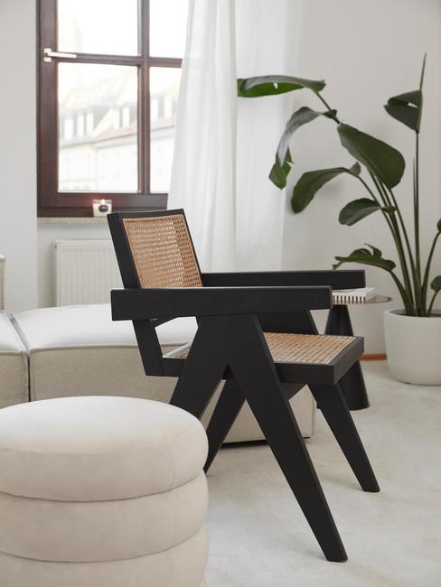 plant in de woonkamer met zwarte rotan stoel