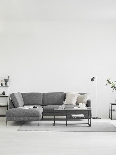 grijze woonkamer met grijze bank en wit vloerkleed