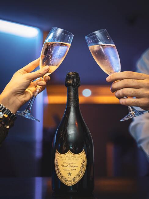 champagne glazen proosten in de tuin met oud en nieuw