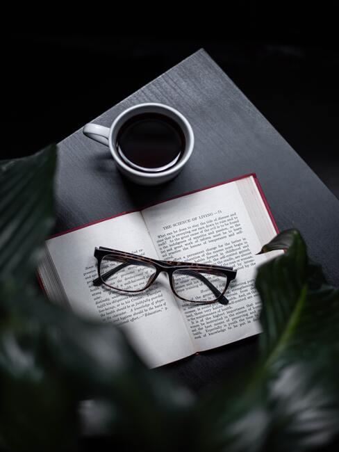 Leeshoek - bijzettafel met koffie, boek en bril