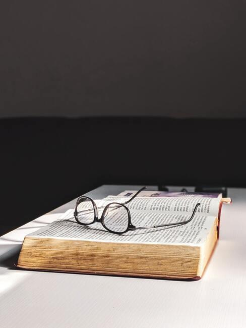 bril, boek