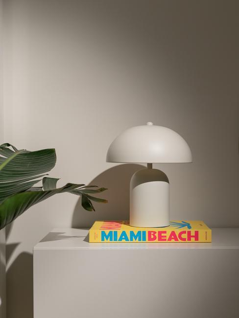 Dressoir met witte tafellamp op koffieboek naast groene plant