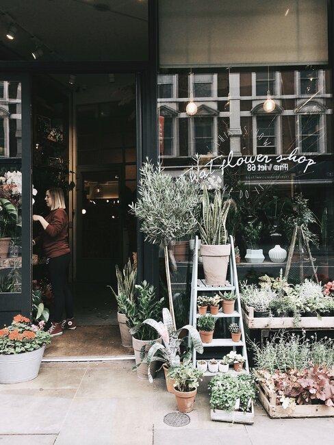 Winkel met bloemen en planten
