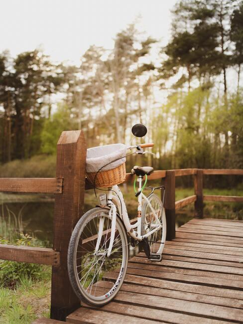 Witte fiets met mand leunend op houten brug over water Staycation