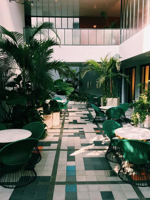 groene lobby van hotel met plant