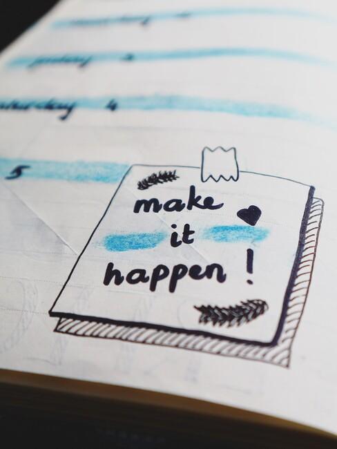 Journaling in het blauw en zwart