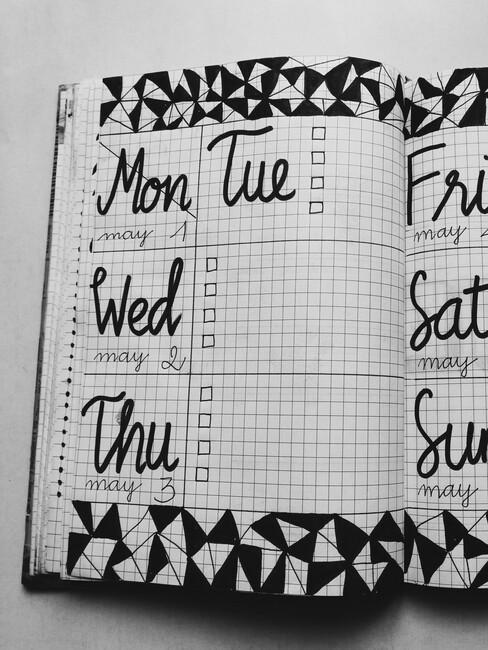 Journaling met de dagen van de week