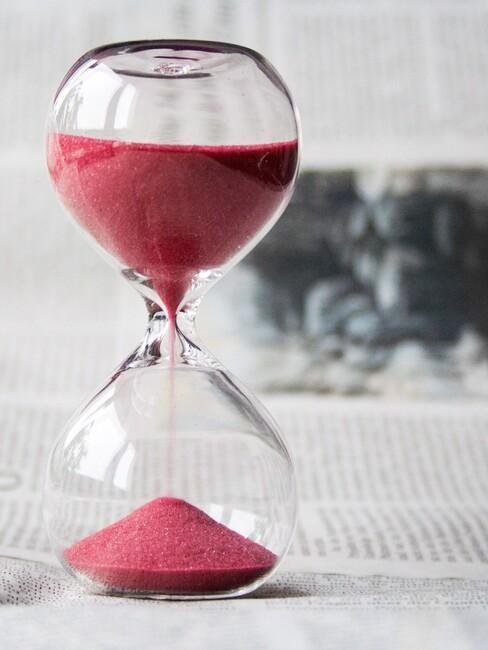Zandloper geeft de tijd aan waarin je pauze kunt nemen