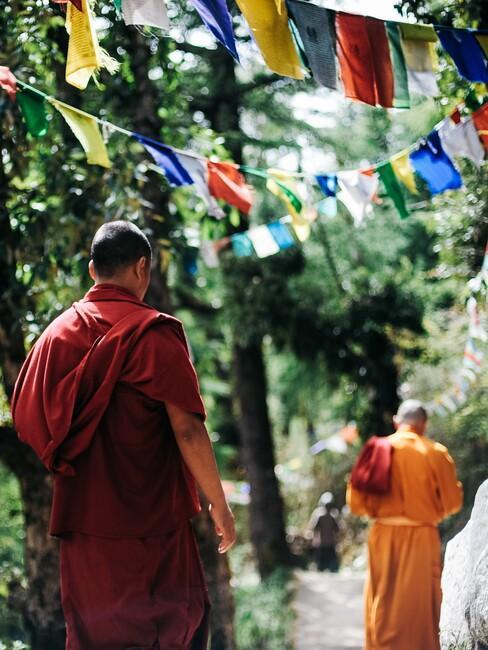 Twee monniken in Tibet lopen over een pad