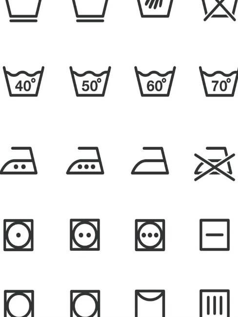 voorbeeld van verschillende wassymbolen