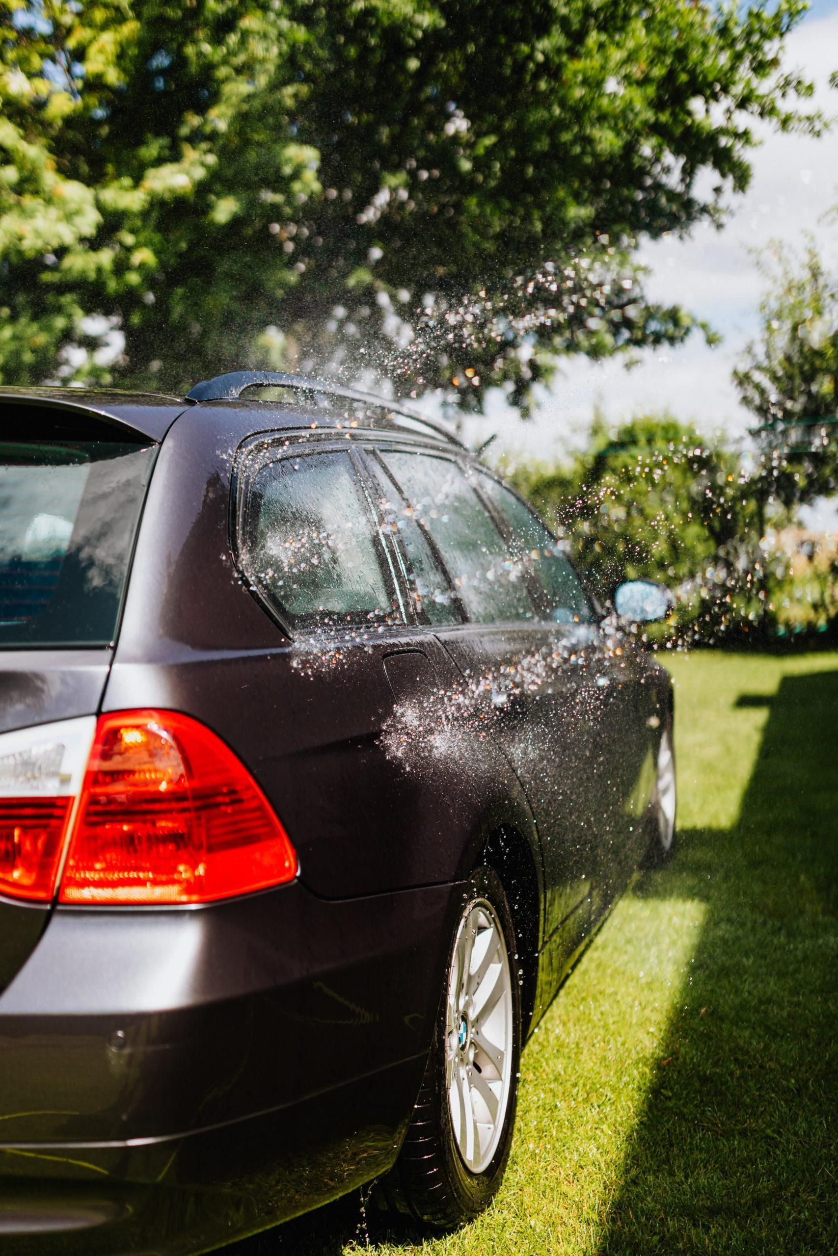zwarte auto op het gras