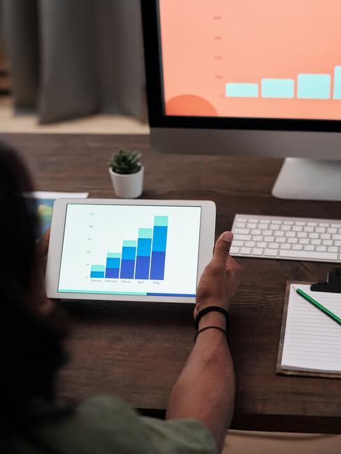 Grafiek op tablet aan werktafel