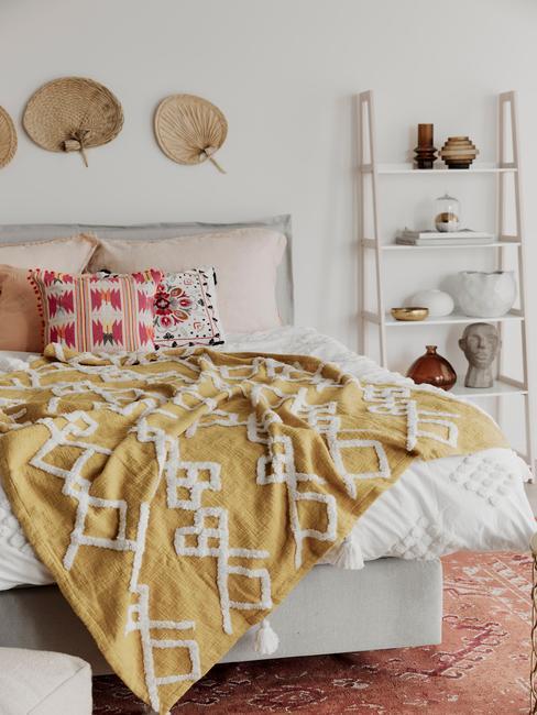 slaapkamer trends 2021 in groene tinten, boho stijl