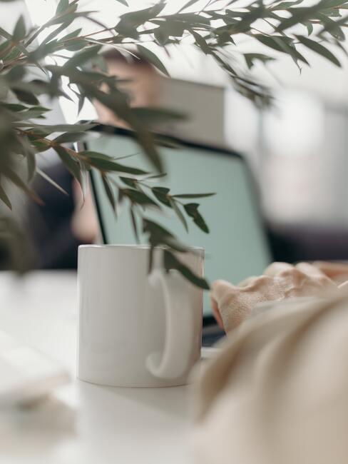 Kop koffie laptop en plant