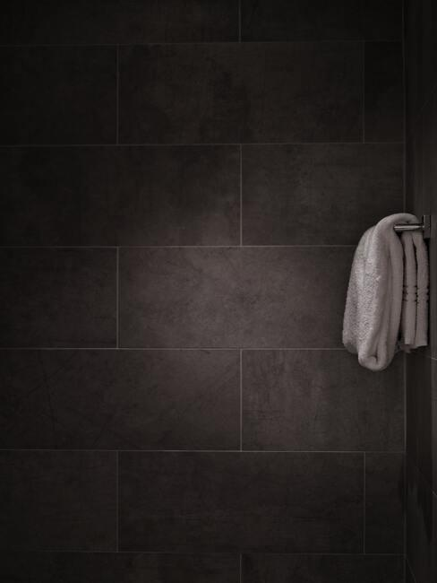 zwarte badkamer wand