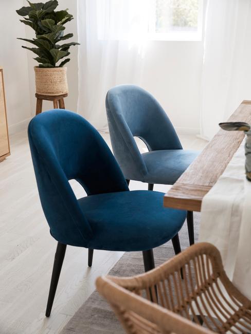 Comfortabele fluwelen stoelen in blauwe tinten