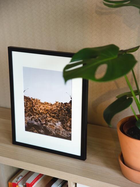 Keramische plantenpot naast een fotolijstje