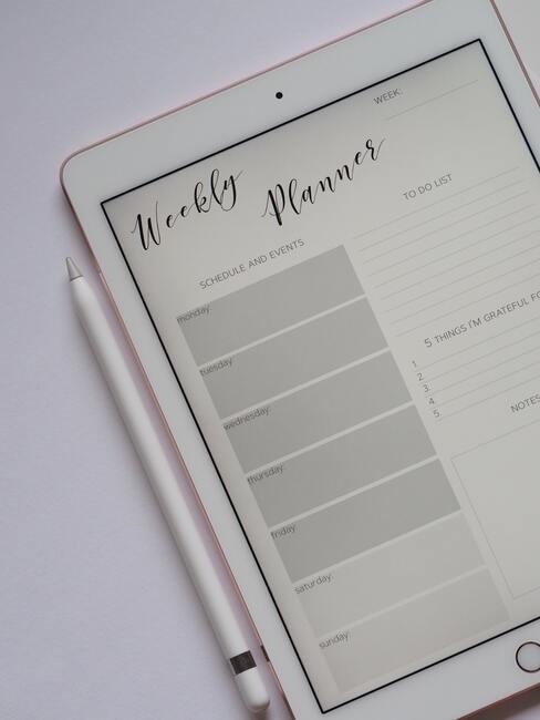 Weekly planner op tablet