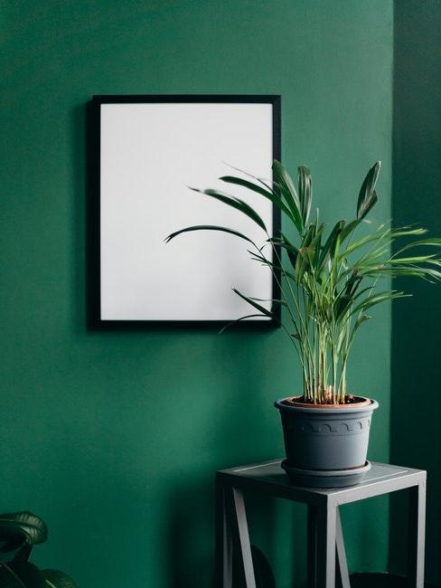 Plantenpot in grijs op bijzettafel in zwart