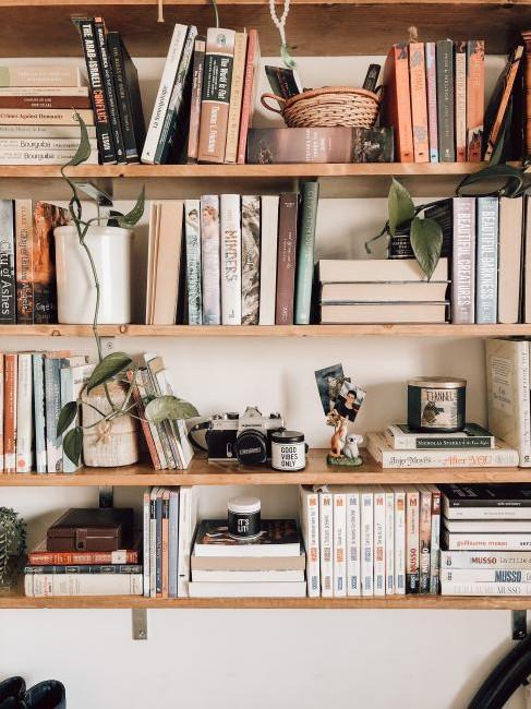 houten planken met boeken