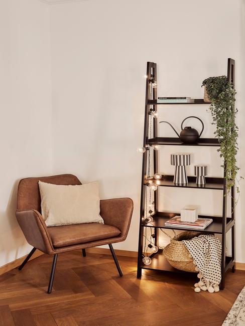 comfortabele leren fauteuil in bruin