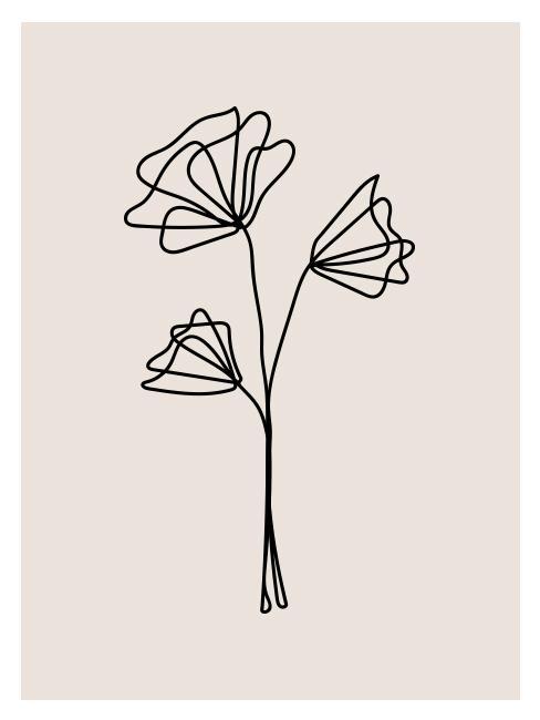 Line art in de vorm van een bloem