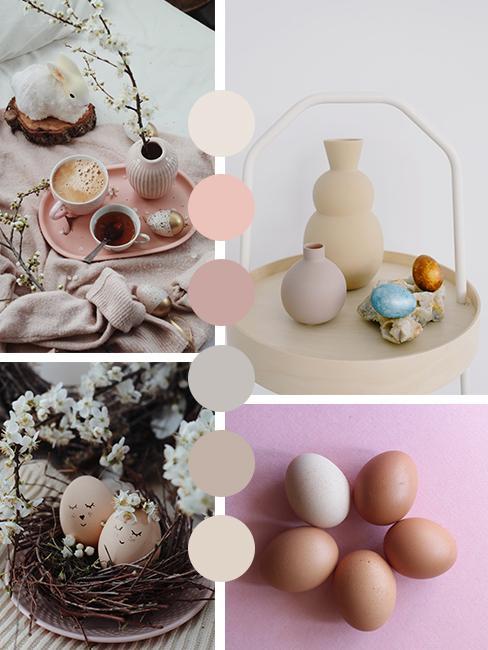 Kleurenpallet nudes voor paasdecoratie