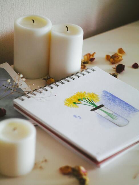 Blocnote met tekening
