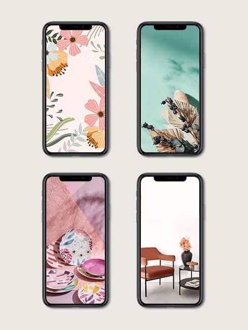 Verschillende lente achtergronden voor op je smartphone