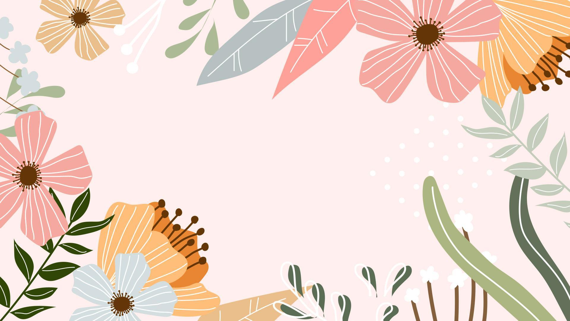 Bureaublad lente achtergrond met bloemen