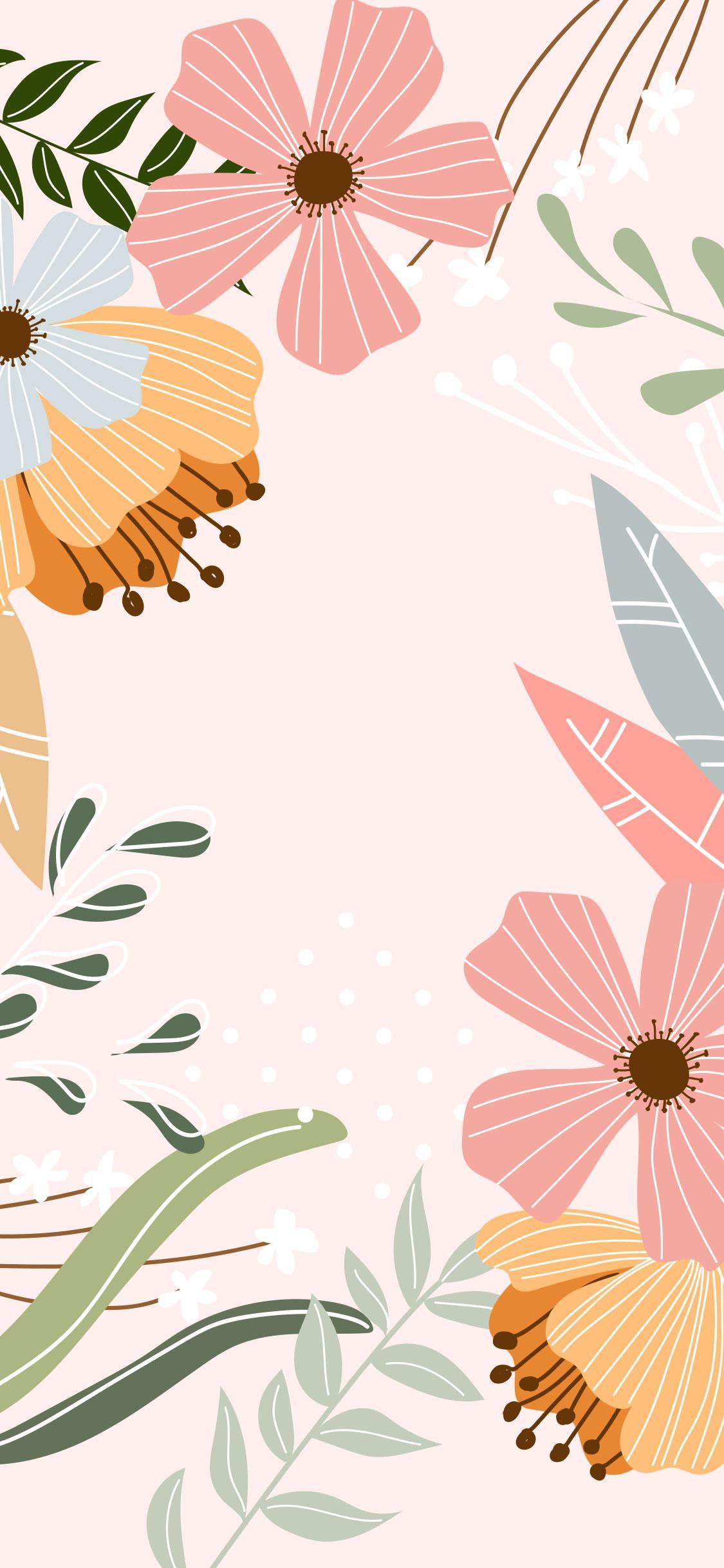 Lente achtergrond met bloemen voor op je telefoon