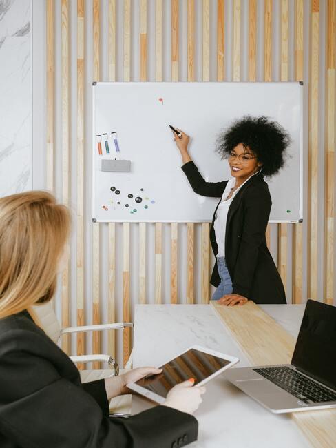 vrouw geeft presentatie aan haar team