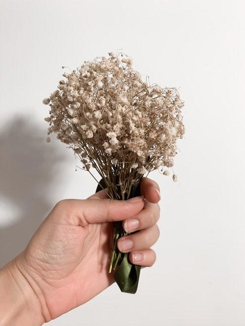 zelf herbarium maken : gedroogde bloemen gebonden in een boeket