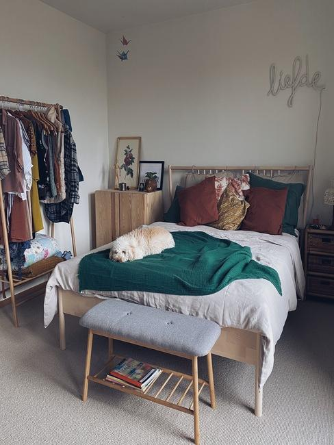 Slaapkamer liesbeth de puysseleir met groen plaid en hond op het bed
