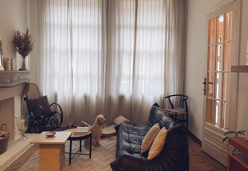 huiskamer liesbeth met zwarte bank en hond