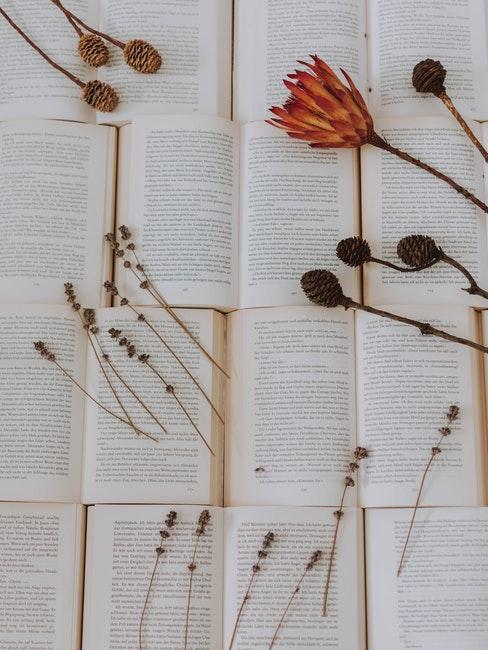 droogbloemen op verschillende bladzijdes van boeken