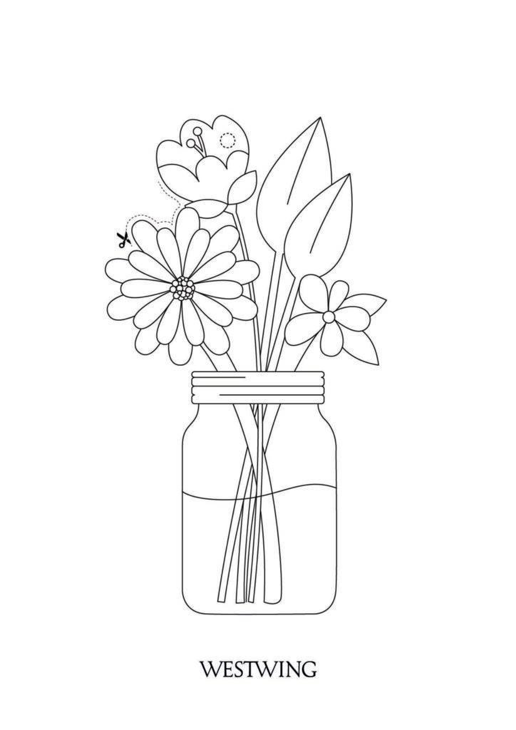 Paas kleurplaat met bloemen in een vaas