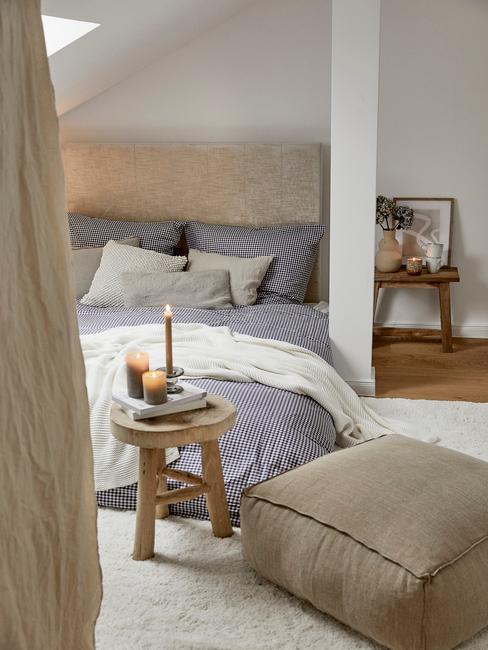 wit met blauwe slaapkamer en toupe bed