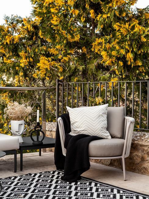 zwart met wit buitenkleed en grijsze stoel met wit kussen