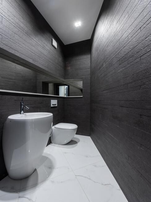 witte marmere vloer met donkere muren en wit toilet