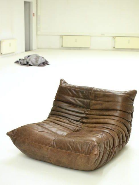Bruin leren lounge stoel