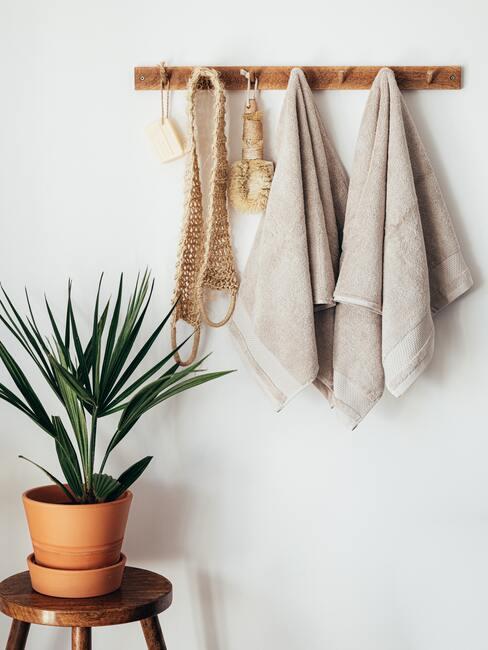 plant op houten kruk en handdoeken